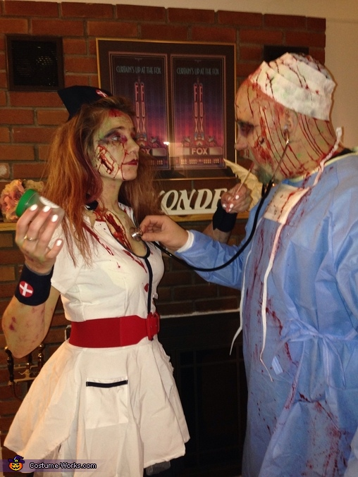 Good thing my nurse showed up, Zombie Operating Room Costume