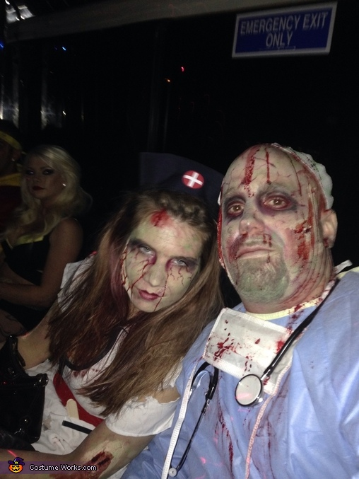 Off to help the healthy become sick and injured, Zombie Operating Room Costume