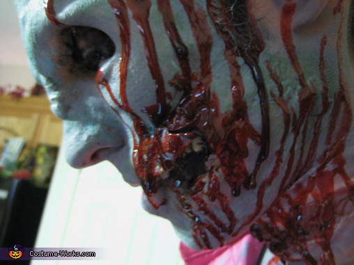 up close of his torn open face, Zombie Prom Dates Costume
