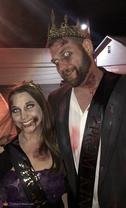 Having a blast as King and Queen, Zombie Prom King and Queen Costume