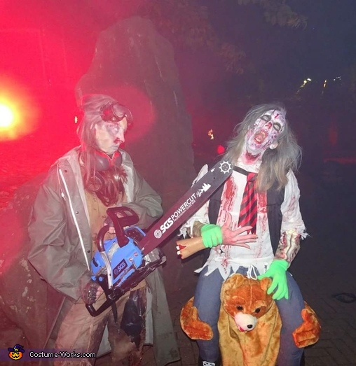 chainsaws hurt be careful, Zombie riding a Bear Costume