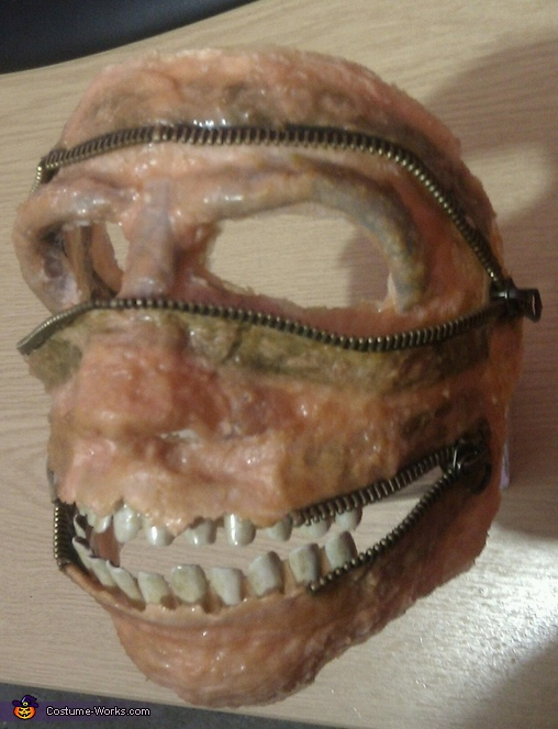 Mask removed and teeth added, Homemade Zombie Zipper Costume