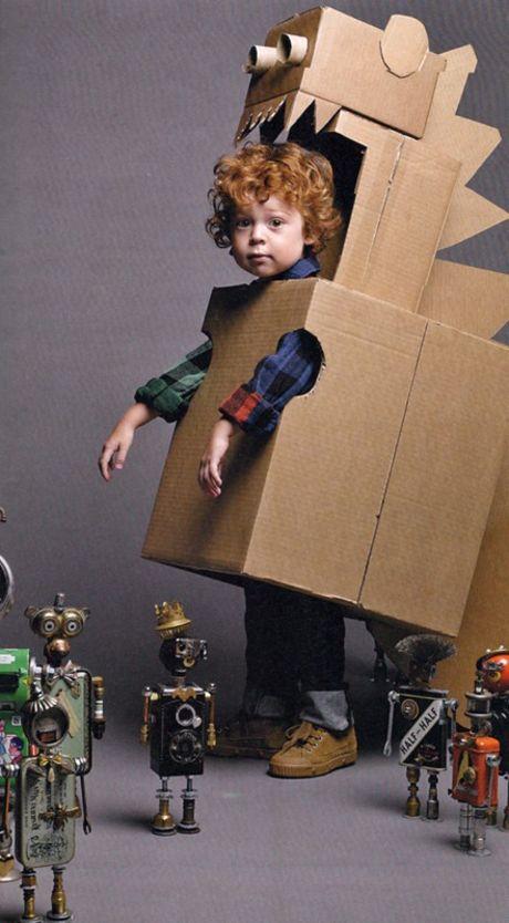 Cardboard Dinosaur Robot Costume