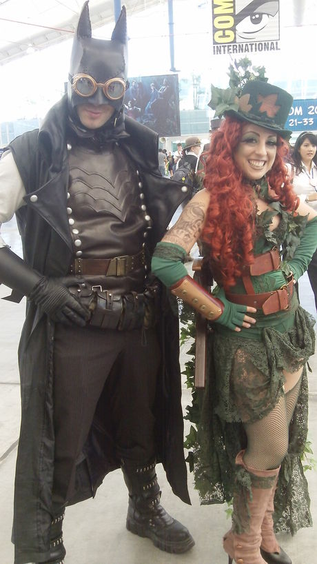 Steampunk Batman and Poison Ivy costumes