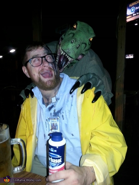 Dennis Nedry and Dinosaur Costume