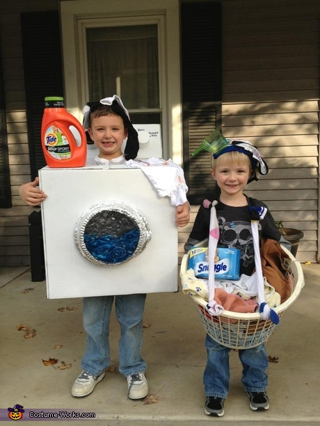 Washing Machine and Laundry Basket Homemade Costumes for Kids