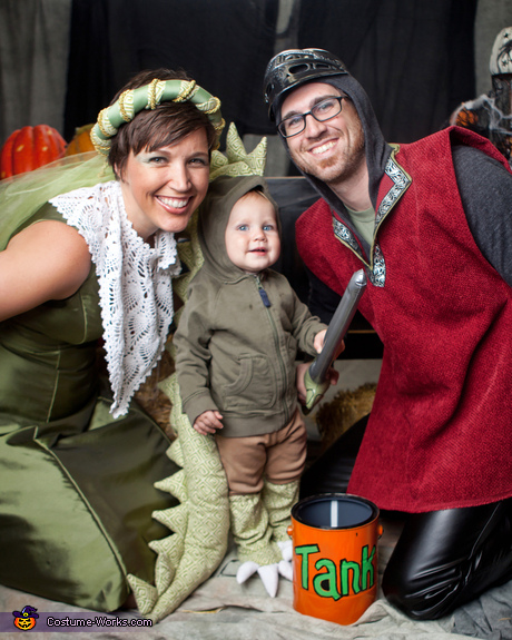 Matching costume ideas for babies and parents - Dragon, Knight and Princess Halloween Costume