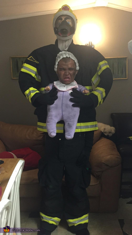 Illusion DIY costumes - Firefighter saving Baby Costume
