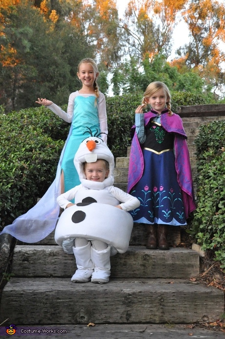 Movie character costumes: Elsa, Anna and Olaf from Frozen