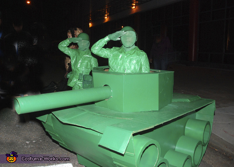 Life Size Green Army Men in a Tank Costume