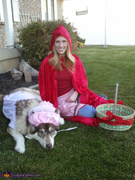 Costume ideas for pets and their owners - Little Red Riding Hood and Big Bad Wolf Costume
