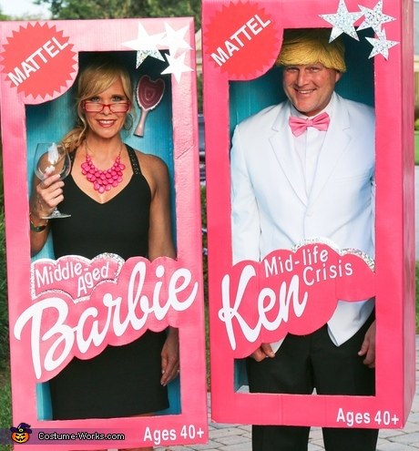 Middle Aged Barbie and Ken Adult Costumes