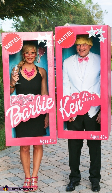 DIY couples costume: Middle-Aged Barbie and Mid-Life Crisis Ken Costume