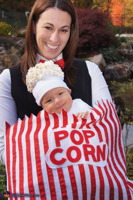 Matching Halloween costumes for babies and parents - Baby Popcorn Costume