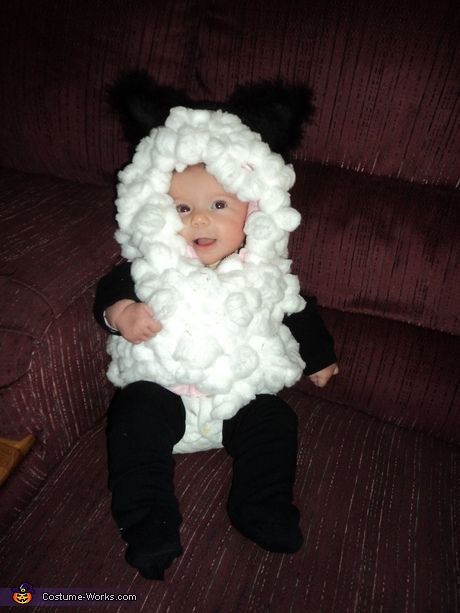 Easy homemade costume for baby's first Halloween - DIY Baby Lamb Costume