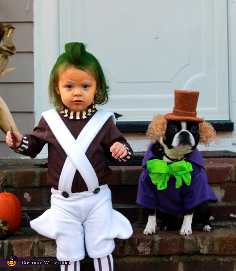 Pets and owners costume ideas - Oompa Loompa and Willy Wonka Costume