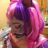 Photo #6 - Cheshire make with pink and black striped eyelashes too!
