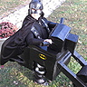 Photo #2 - Batman rides a BAT-CYCLE! A creation by Dad, Bob... it has all of the bells, whistles & lights!