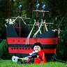Photo #6 - 7 month old Myles with his homemade, custom built Jolly Roger Wagon Pirate Ship.