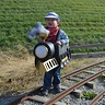 Photo #3 - Taking his train out on the (unused) tracks at the museum