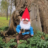 Photo #1 - Anthony the Gnome sitting in front of his tree door.