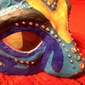 Photo #2 - AVATAR Warrior's homemade mask w/ yellow eyes, warpaint, and phospherescent dots.