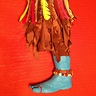 Photo #6 - AVATAR Warrior's homemade stilts (with blue feet, toes, and toenails) to make him stand 8 feet tall.