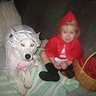 Photo #2 - Chloe Nicole and Kira the dog as Little Red Riding Hood and The Big Bad Wolf pic#2