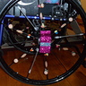 Photo #2 - My SHISH KABOB wheelchair tires - made with spoke beads and food erasers.