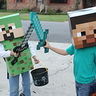 Photo #7 - my son (green) with his friend in a store-bought Minecraft costume
