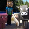 Photo #1 - Steve, minecraft cow, pig and sheep.