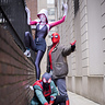 Photo #1 - Top to bottom: Spider Gwen, Peter B. Parker, and Miles Morales!