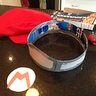 Photo #3 - Making the Mario hat from watching Beck Blow video.  Cereal box and duct tape inside to give it shape.