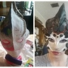 Photo #9 - the mask in the begging stages (left) and when I wore it for the first time (right)