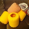 Photo #4 - LEGO heads (over empty cheese ball containers) with slip covers waiting to be sewn.