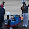 Photo #1 - Sir 'Henry' Hatt, his Thomas, and his conductor at the 'crossing'