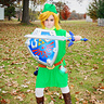 Photo #2 - Toon Link complete with Master sword, Shield, ocarina, rupee bag, and 'fairy' (LED light)