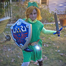 Photo #1 - Toon Link complete with Master sword, Shield, ocarina, rupee bag, and 'fairy' (LED light)