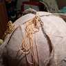 Photo #7 - Sew burlap with plastic needle with gold yarn