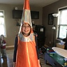 Photo #8 - Trying on the traffic cone before attaching the base to the material