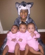 3 Little Pigs and The Big Bad Wolf Homemade Costume