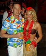 Tanned up Hawaiian Couple Homemade Costume