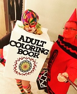 Adult Coloring Book and Crayon Homemade Costume