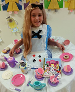Alice at the Mad Hatters Tea Party Homemade Costume