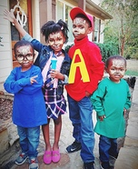 Alvin, Simon, Theodore, and Chipette Brittany Homemade Costume