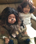 Baby Chewbacca and Little Leia Homemade Costume