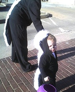 Baby Skunk and Mommy Skunk Homemade Halloween Costumes