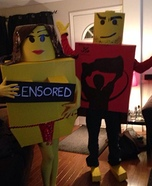 Ball Hockey Lego Man and his Groupie Lego Lady Homemade Costume