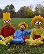 Bart, Lisa and Maggie Simpson Homemade Costume