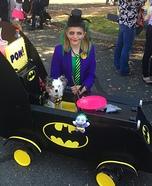 Batman in Batmobile with Joker Homemade Costume